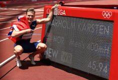 Image de l'article Karsten Warholm JO Tokyo : les chaussures portées sur son record du monde du 400m haies
